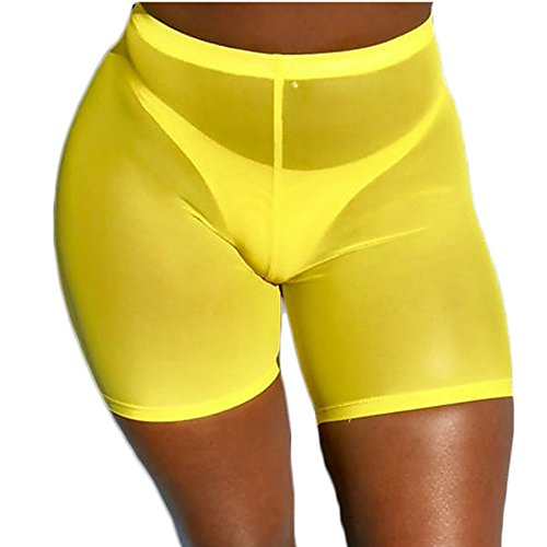 FULA-bao Women Sexy Perspective Mesh Sheer Swim Shorts Pants Bikini Bottom Cover up (Yellow, L)