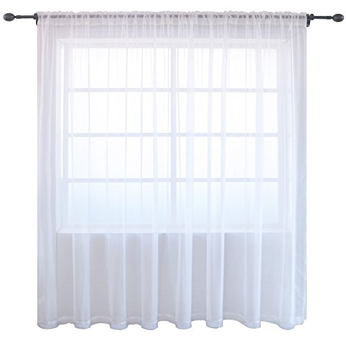 KEQIAOSUOCAI White Window Sheer Voile Rod Pocket Curtains One Panel for Sliding and Patio Door Each is 100 inch width by 84 inch ()