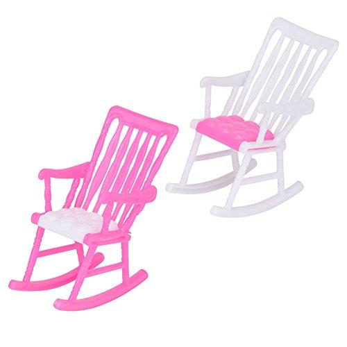(loinhgeo Mini Plastic Miniature Doll Furniture Rocking Chair Model Toy Gift for Dollhouse Random Color)