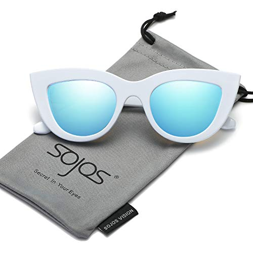 (SOJOS Retro Vintage Cateye Sunglasses for Women Plastic Frame Mirrored Lens SJ2939 with White Frame/Blue Mirrored)