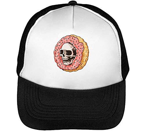 Skull Donut Gorras Hombre Snapback Beisbol Negro Blanco