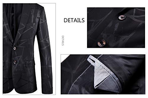 Nero Casual Santimon Vestito B Giacca Risvolto Slim Elegante Stampato Uomo Blazer Dentellato Fit Bottone 7qpvqHnSwx