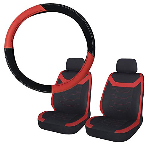 UKB4C Red & Black Steering Wheel & Front Seat Cover set for Saab 900 All Models:
