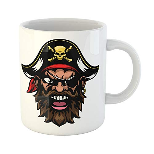 Semtomn Funny Coffee Mug Face Cartoon Mean Tough Looking Pirate Sports Mascot Character 11 Oz Ceramic Coffee Mugs Tea Cup Best Gift Or Souvenir -
