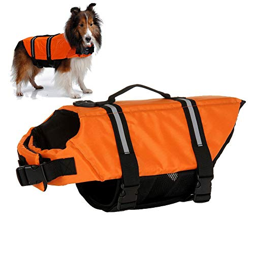 Gtpeak Dog Life Jackets Swimming Vests with Safe Flotation Devices, Adjustable Reflective Swimsuit, Easy Grab Handle, Preserver Lifesaver for Large Medium Small (XS S M L XL) ()