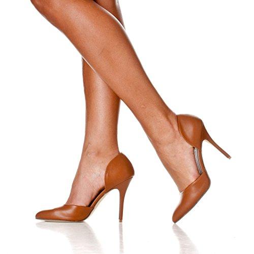 Heels Toe Nora Women's Pump Riverberry On Pointed Brown Slip D'orsay Pu 8Rqwwtnf