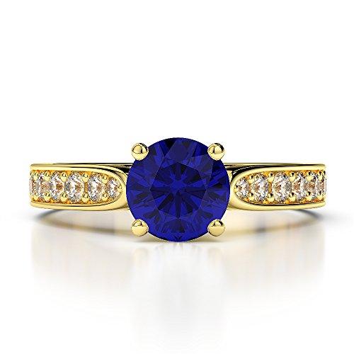 Or jaune 18carats 1CT G-H/VS sertie de diamants Saphir de coupe ronde et bague de fiançailles Agdr-1221