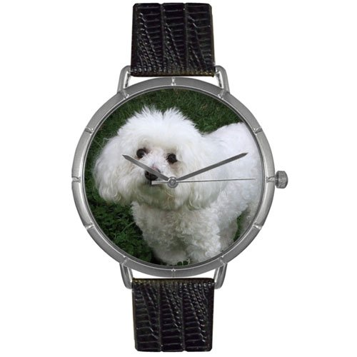 Bichon Friese Whimsical Watches Women's T0130010 Black Leather And Silvertone Photo Watch