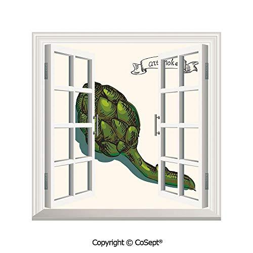 SCOXIXI Window Wall Sticker,Artichoke Illustration Organic Food