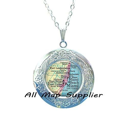 Charming Locket Necklace,Miami map Locket Pendant, Miami Locket Pendant, Ft Lauderdale, Miami Beach, Hialeah, Coral Gables, Miami map Locket Necklace,A0296