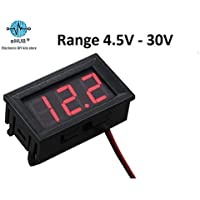 eHUB DC Voltmeter DC 5V-30V with Reverse Protection and 0.56 Inch Red LED Digital Display