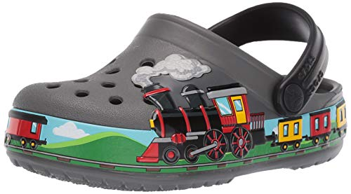 Crocs Kids' Fun Lab Train Band Clog, Slate Grey, 9 M US Toddler (Clogs Kids Crocs)