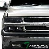 Topline Autopart Smoke Head Lights Dy W/Signal Bumper Lamps Black Yd 99 00-06 Chevy Silverado/Suv