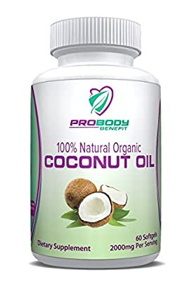 Organic Coconut Oil 1000mg Capsules - for Beautiful Healthy Hair; Skin and Nails; Support Diet and Weight Loss with our Natural Supplements