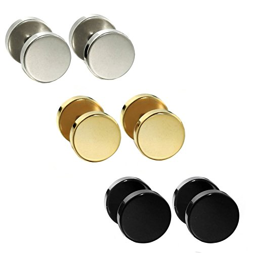 O-ring Earring (Joybeauti 4mm Stainless Steel Tapers Cheater Faux Fake Ear Plugs Gauges Stud Earrings Pack of 3 Pairs (Black & Steel & Gold))