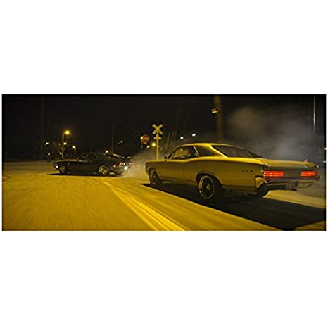 Need For Speed Black Muscle Car Racing Ahead Of White Muscle Car At