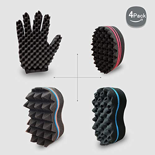 Barber Curl Twist Sponge Glove(Right) and Big Holes Hair Brush Double Sided Sponge Kit Tutorial For Dreads Locking Twist Afro Curling Coils Wave Men and Women Hair Care Tool Set of 4(Blend)
