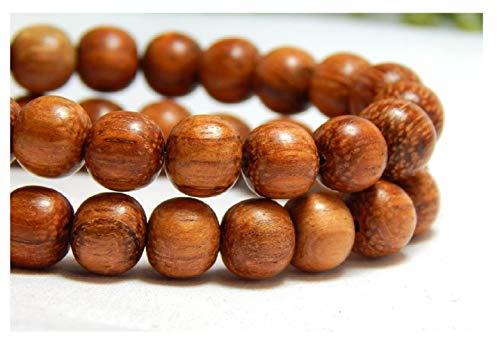 50 Pcs 8mm Natural Bayong Wood Beads Wooden Round Nature Red Brown DIY Craft