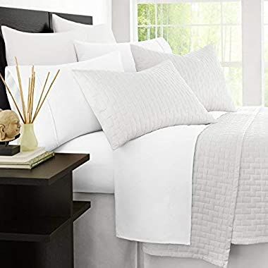 Zen Bamboo 1800 Series Luxury Bed Sheets - Eco-Friendly, Hypoallergenic and Wrinkle Resistant Rayon Derived from Bamboo - 4-Piece - Queen - White
