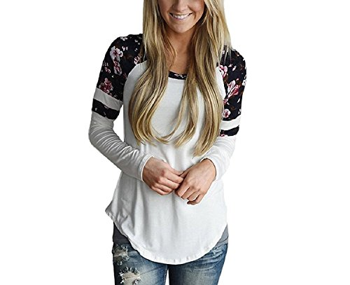 Womens Long Sleeve T-Shirt Ladies Round Neck Casual Party Loose Floral Tops and Blouse