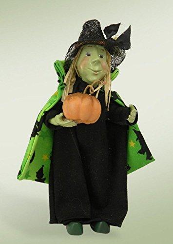 Byers' Choice Hazel Witch Kindle with Pumpkin (Halloween Cauldron Cake)