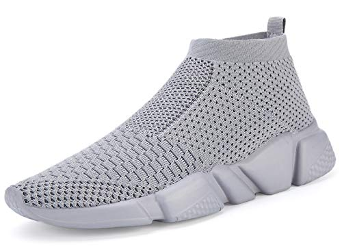 Santiro Men's Running Shoes Breathable Knit Slip On Sneakers Lightweight Athletic Shoes Casual Sports Shoes