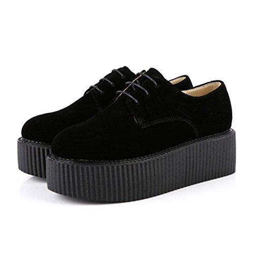 Brogue Cuir Roseg Chaussures Lacets Femmes Flache Plateau Creeper XxPwf
