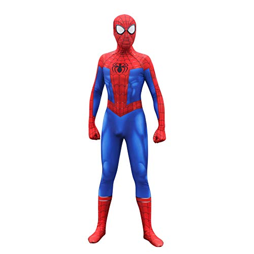 Spider-Man Peter Parker Cosplay Costume Into The Spideverse Costume Adult/Kid 3D Style (M) -