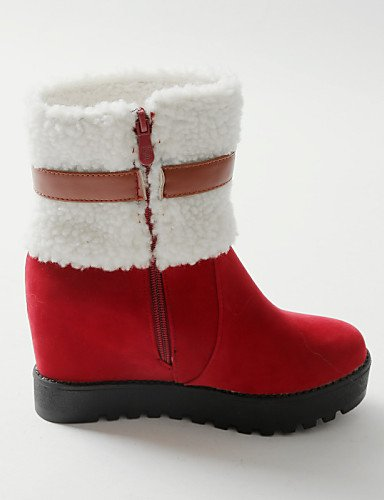 Uk7 Xzz Tacón Punta Vellón Redonda Eu40 Botas us8 Black Cn39 Nieve Comfort Vestido Cn41 Cuña Zapatos Negro us9 Mujer De Eu39 Casual Uk6 Red Cuñas Rojo pxfqwSF