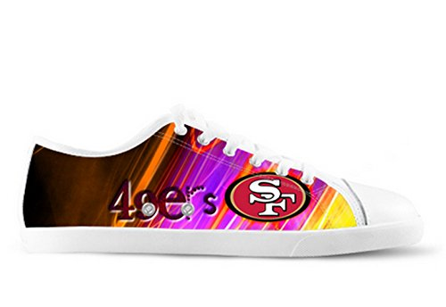 49ers Logo Ladys Halkfria Tygskor 49ers Canvas Shoes06