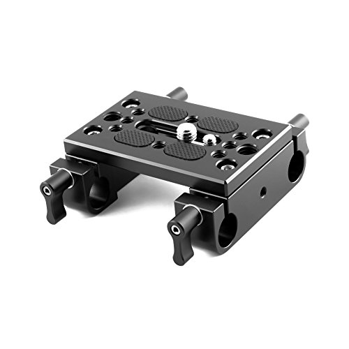 NICEYRIG Tripod Mounting Plate with 15mm Rod Clamp Railblock for Rod Support/DSLR Rig ()