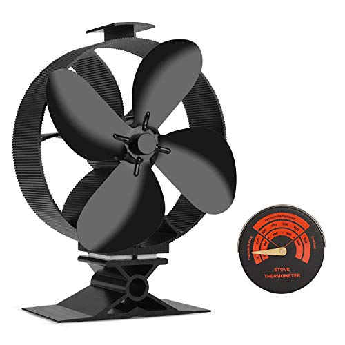 Sumapner Wood Stove Fan -4 Blade Eco Friendly Silent Heat Powered Stove Fan for Wood Log Burners-Big Air Volume
