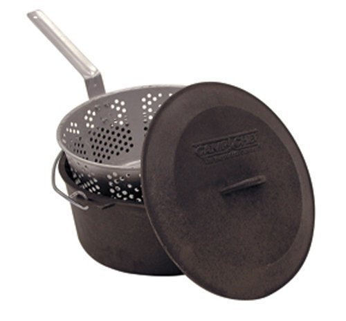 The Camp Chef CP-12 Cast Iron 7.5 Quart Seasoned Cast Pot, 2 piece - Set Camp Pot Chef