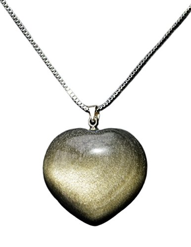 Obsidian Gold (Puff Heart Pendant Necklace Made of Gold Sheen Obsidian Gemstone, w 18