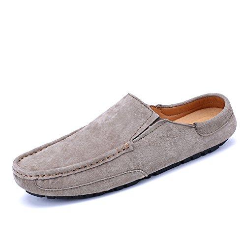 Véritable Mules Cuir Des De De Bateau Conduite Cricket Hommes Kaki on Occasionnels Slip En Pantoufles Mocassins Chaussures xtI1Pt