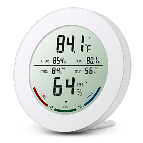 ORIA Digital Hygrometer Thermometer, Temperature and Humidity Monitor with Large LCD Display, Comfort Indicators, MIN/MAX Records, ℃/℉Switch and Trend of Temperature Change for Home, Office ect-White
