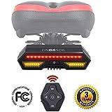 FINDANOR, indicatori di direzione per Bicicletta, Telecomando Senza Fili, luci di Sicurezza e luci Lampeggianti, fanali Posteriori da 2200 mAh, Ricaricabili Tramite USB, impermeabilità IPX4.