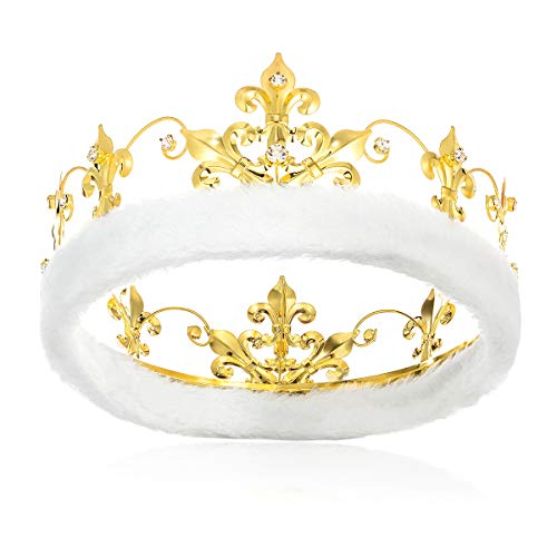 DcZeRong King Crowns Birthday Crown Adult Men Crown Gold Metal Crown Prom King Crown Crystal Crown (Prom Crowns Men)