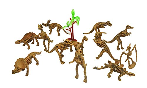 "12 Pcs Assorted Skeleton Dinosaur Figure 1.5"" - 3"" Action Figures Toy Playset (Animal Planet Raptor Dog Costume)"