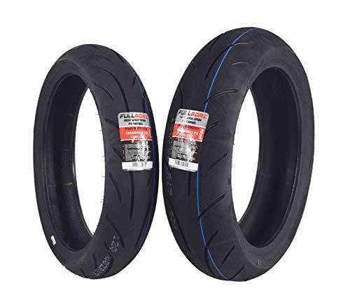 Full Bore F2 Series 120/60ZR17 Front & 160/60ZR17 Rear Radial Motorcycle Sport Bike Tire Combo Set 120/60-17 160/60-17 (120/60ZR17 Front & 160/60ZR17 Rear) (Best Sport Motorcycle Tires)