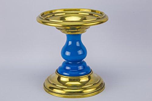 Medium Beautiful Kitchen Carving STAND Pot Brass Ceramic Blue Victorian English Circa 1900 LS - Bassett Cottage Collection