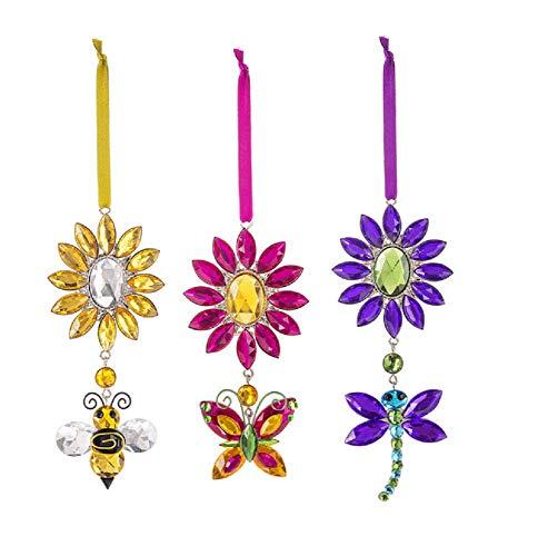 Ganz Crystal Expressions Acrylic Garden Pendant Ornament 3 Piece Set