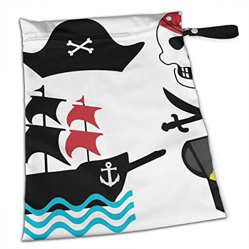 Gold Skull Pirate Ship Premium Wet Bag Baby Wet Dry Cloth Diaper Bags Waterproof Reusable Wet Bags for Swimsuit Wet Clothes Baby Items with Zipper