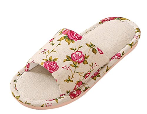 Cattior Womens Floral House Slippers Ladies Slippers Red I8R6Bu