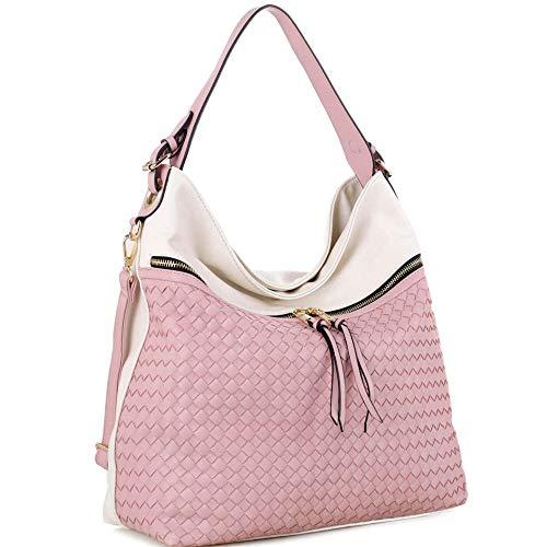 - Front Zipper Compartment Color-Block Woven 2-Way Hobo Bag Purse