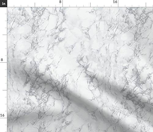 Spoonflower Marble Fabric - Grey Home Decor Marble Stone by Kimsa Printed on Petal Signature Cotton Fabric by The ()