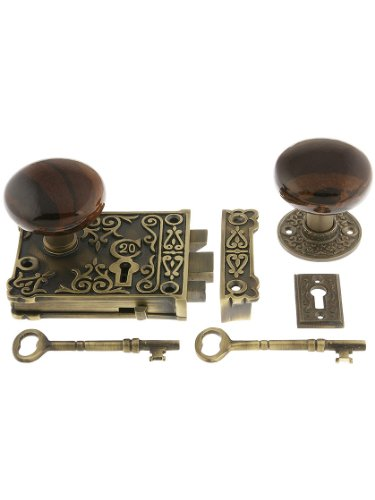 (House of Antique Hardware R-01HH-1032-SBN-AB Solid Brass Century Rim Lock Set with Brown Swirl Porcelain Knobs in Antique Brass)