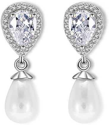 Hanie Teardrop Simulated Pearl Drop Dangle Earrings Silver Tone White Pear Crystal
