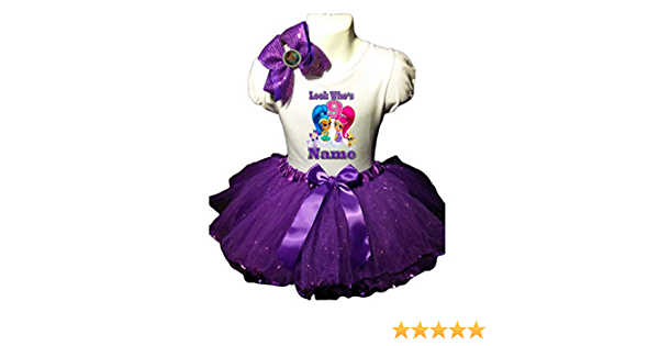 Shimmer and Shine Birthday Tutu 5th Birthday Party Dress Fuchsia Tutu Outfit Shirt