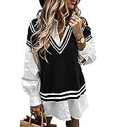 BLENCOT Women V Neck Knit Sweater Vest Argyle Pattern Sleeveless Oversized Checked Teens Knitwear...